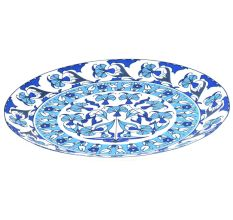 Blue Pottery Floral Design Serving Dinner Plate
