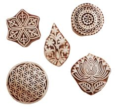 Set of 5 Piece New Mix Wooden Printing Blocks