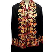 Black Semi Pashmina Stole With Embroidered Border