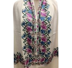 White Semi Pashmina Stole With Embroidered Border