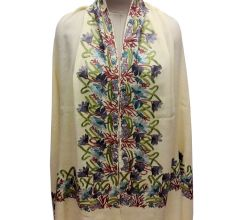 Cream Semi Pashmina Stole With Embroidered Border