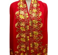 Red Semi Pashmina Stole With Embroidered Border