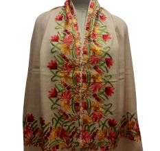 Beige Semi Pashmina Stole With Embroidered Border