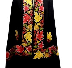 Black Embroidered Border Semi Pashmina Stole