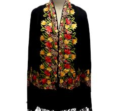 Black Semi Pashmina Stole With Red and Yellow Flower Embroidered Border