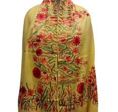 Yellow Semi Pashmina With Embroidered Border Stole