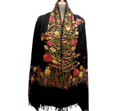 Black Semi Pashmina With Hand Embroidered Border Stole
