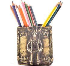 Tribal Brass Pen Pencil Holder