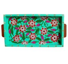 Green Color Floral Design Hand Made Painting Tray