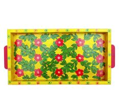 Yellow Floral Design Handmade Painting Tray