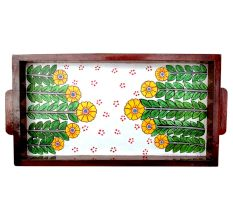 Floral Design Handmade Wooden Tray