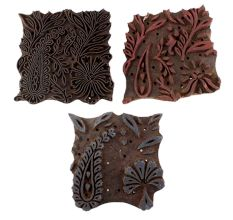 Set of 3 Piece New Mix Wooden Printing Blocks