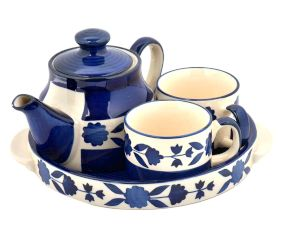 Blue Pottery Tea Set With Tray