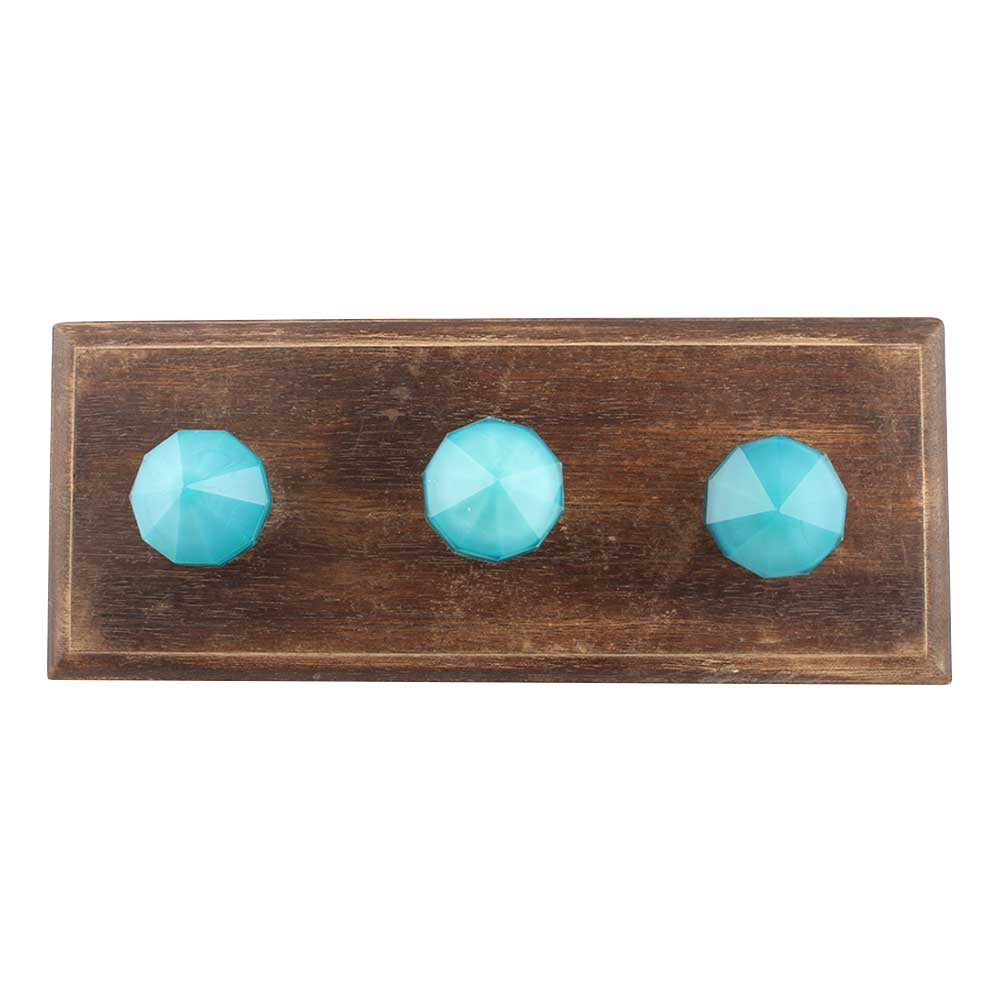 Turquoise Glass Top Wooden Hooks