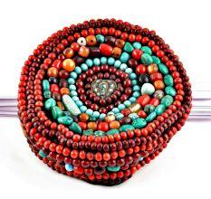 Tibetan Coral Beads Cap
