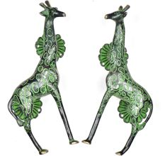 Brass Green Patina Giraffe Door Handle