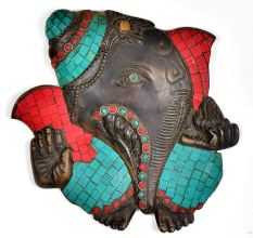 Brass Lord Ganesha Wall Hanging with Stone Work