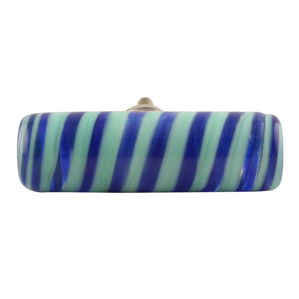 Navy Blue Striped Tube Glass Cabinet Knob