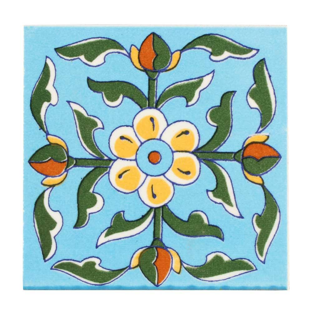 Turquoise Base Yellow Tiny Flower Ceramic Tiles