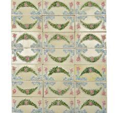 Vintage Garland Flower Embossed Ceramic Tile(Set Of 21 tiles)