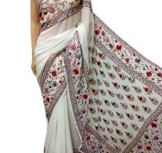 White Floral Georgette Sari