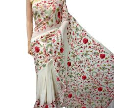 White Big Floral Georgette Sari
