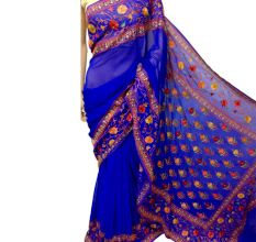 Persian Blue Floral Georgette Sari