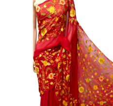 Bright Red Floral Georgette Sari