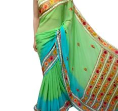 Green Blue Floral Border Georgette Sari