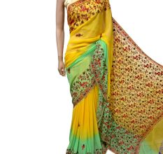 Yellow Green Floral Georgette Sari