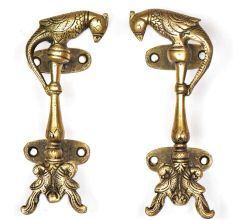 Two Brass Peacocks With Brass Parrot On Top Door Handle (In Pair)