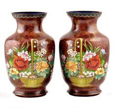 Cloisonne Vases  Rust Floral Ground Polychrome Flower Baskets(Set of 2)