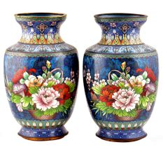 Pair of Cloisonne Vases  Blue Floral Ground With Polychrome Flower Baskets(Set of 2)