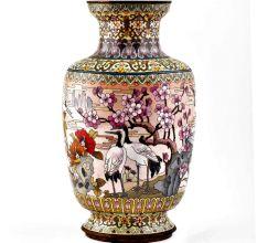 White Cloisonne Enameled  Vase White with Birds and Flowers