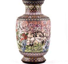 White Cloisonne Vase w/CRANES & Flower Blossoms