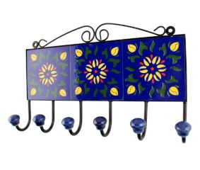 Navy Blue Sunflower Ceramic Tiles Hook