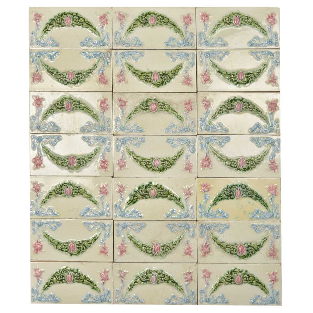 Vintage Garland Flower Embossed Ceramic Tile(Set Of 21 tiles)