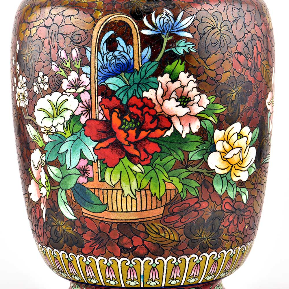 A  Cloisonne Enameled  Vase Decorated With Flowers on a Red Ground