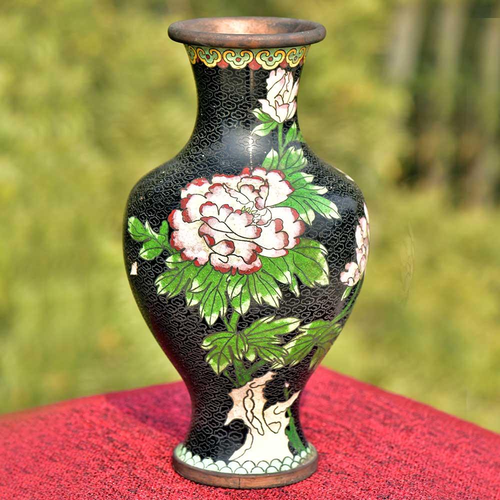 Vintage Black Cloisonne Floral Brass Vase