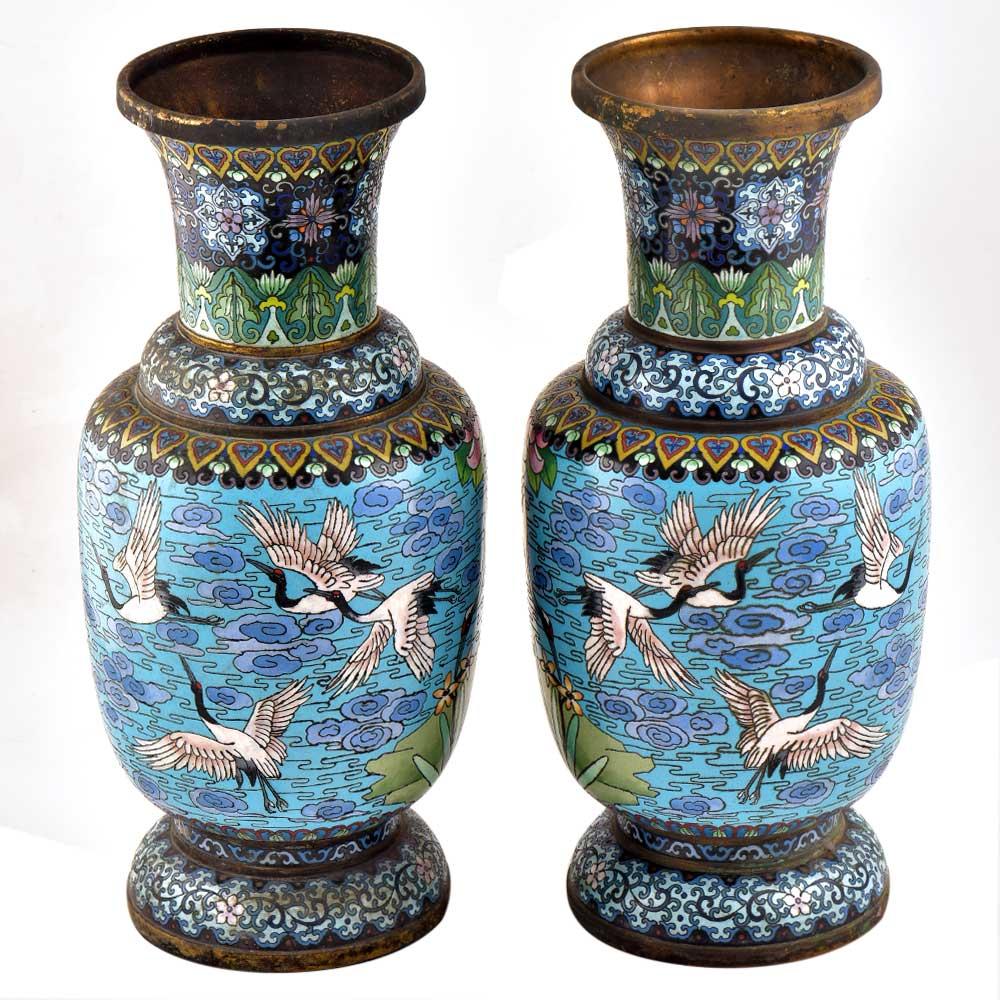 Blue Cloisonne Vase w/CRANES & Flower Blossoms(Set Of 2)