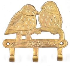 Two Birds On A Branch with 3 Hooks In Brass