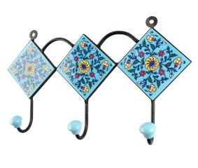 Turquoise With Yellow Wheel Flower Ceramic Tiles Hook