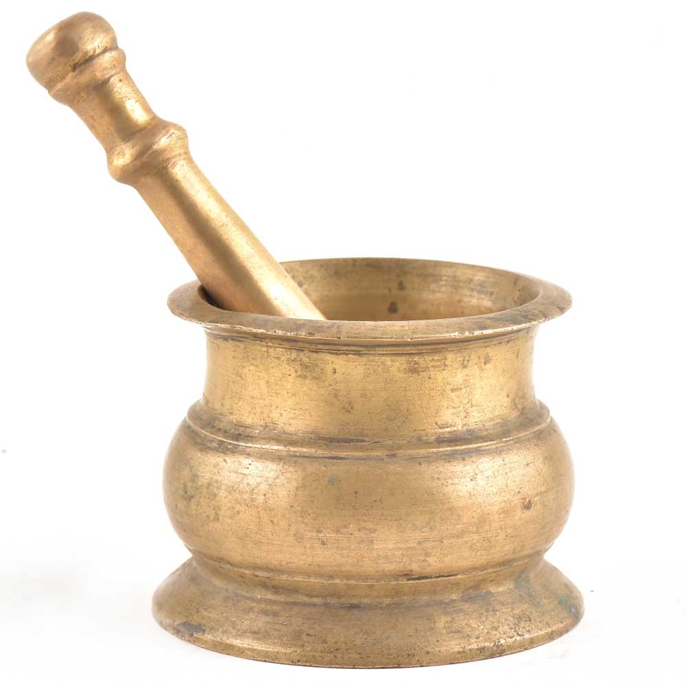 Handmade Mortar Pestle Made of Solid Brass