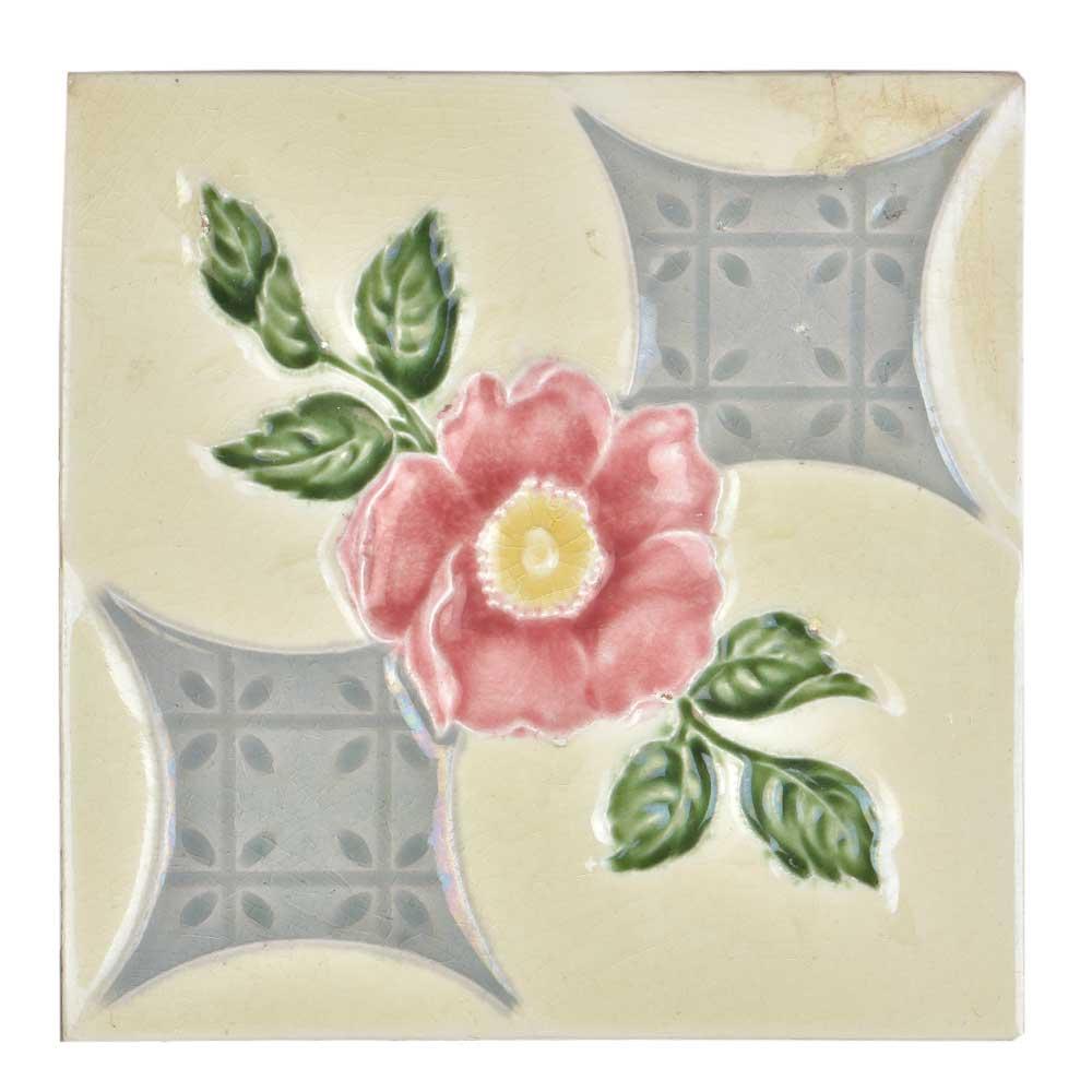 Vintage Ceramic Tile Of Pink Flower With Leaves