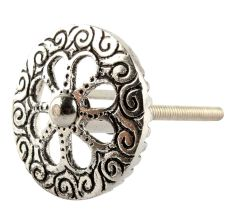 Silve Wheel Flower Drawre Knob in Aluminium