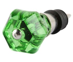 Green Hexagon Glass Cut Wine Stopper