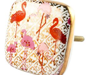 Pink and Gold Flamingo Square Ceramic Dresser Knob