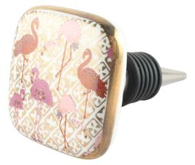 Baby Pink With Red Flamingo Square Ceramic Wine Stopper