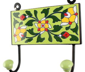 Pea Green With Forest Green Leaf Ceramic Tile Hook