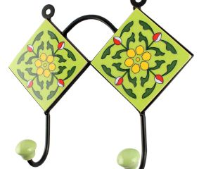 Pea Green Ceramic Floral Tile Wall Hook